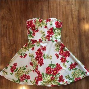 Strapless Floral Skater Dress
